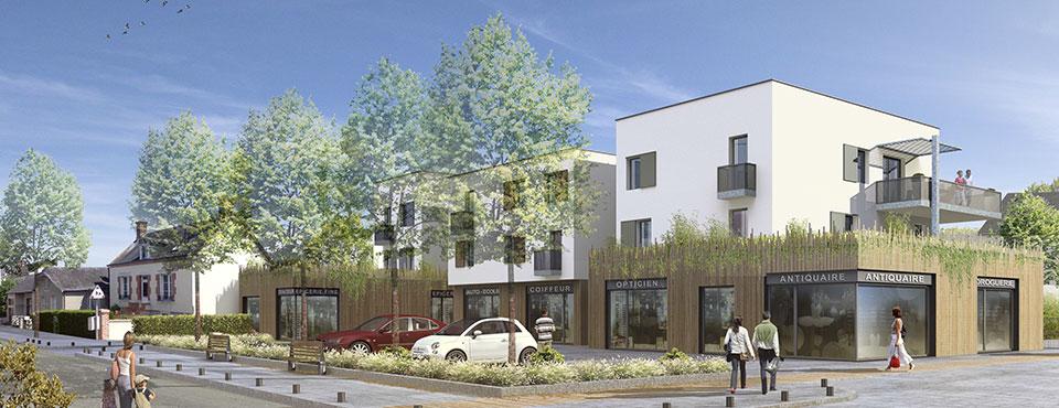 Construction d'un immeuble de logements collectifs et de commerces en rez-de-chaussée