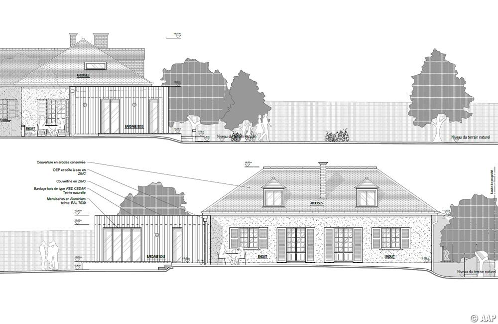 Plan des façades et des toitures.
