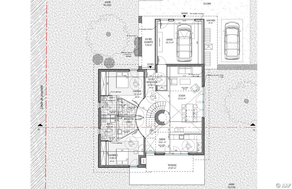 L 39 atelier architectures et paysages maison j tour en for Plan maison d habitation