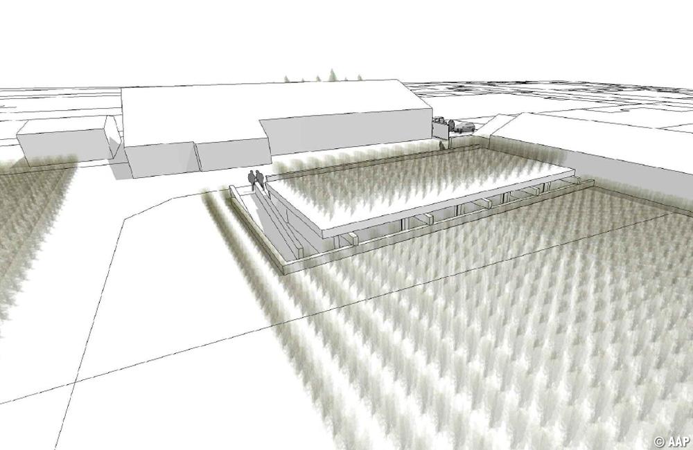 Perspective de la salle des souterrains intégrée au vignoble
